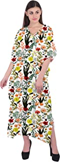 RADANYA Womens 3/4 Sleeve Maxi Dress Kaftan Cotton Floral Casual Long Caftan Dresses