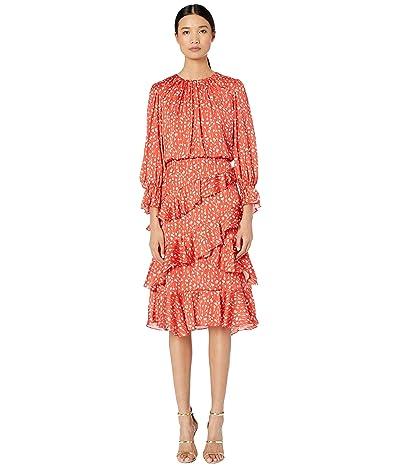 ML Monique Lhuillier Printed Ruffle Dress (Cayenne Multi) Women