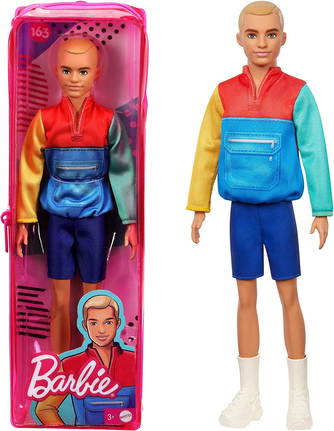 Barbie Ken Fashionistas Doll #163, Slender with Sculpted Blonde Hair Wearing Color-Blocked Jacket-Style Top, Blue Shorts & White Boots, Toy for Kids 3 to 8 Years Old