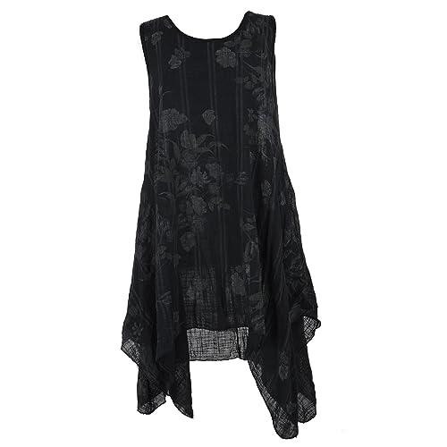 94fe04b19b TEXTURE Ladies Womens Lagenlook Italian Sleeveless Floral Textured Cotton  Asymmetric Midi Dress One Size Black
