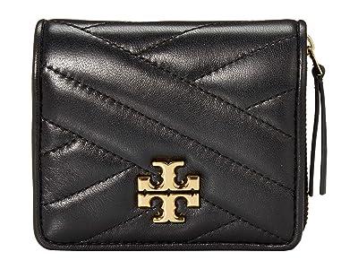 Tory Burch Kira Chevron Bifold Mini Wallet (Black) Handbags
