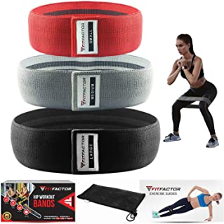 FitFactor Booty Resistance Bands For Women 3 Pack - Loop Circle For Hips, Thighs, Butt, Glutes-Exercise Bands With Carrying Bag - Fabric Fitness Bootie Workout Bands For Stretching, Yoga, Leg Exercise