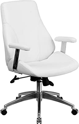 Flash Furniture Mid-Back White LeatherSoft Smooth Upholstered Executive Swivel Office Chair with Arms