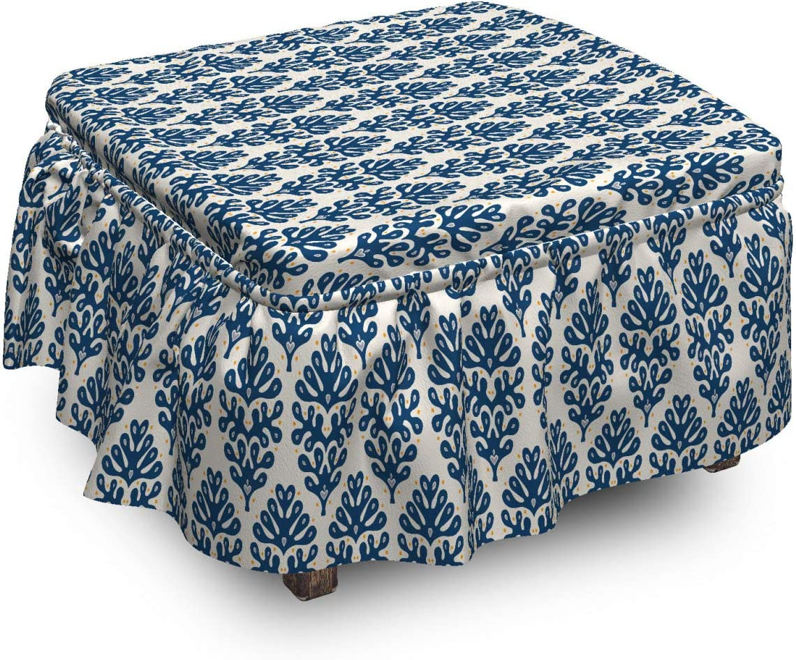 Raleigh Mall Lunarable Contemporary Blue Ottoman Cover Abstract Ranking TOP4 Coral Pie 2
