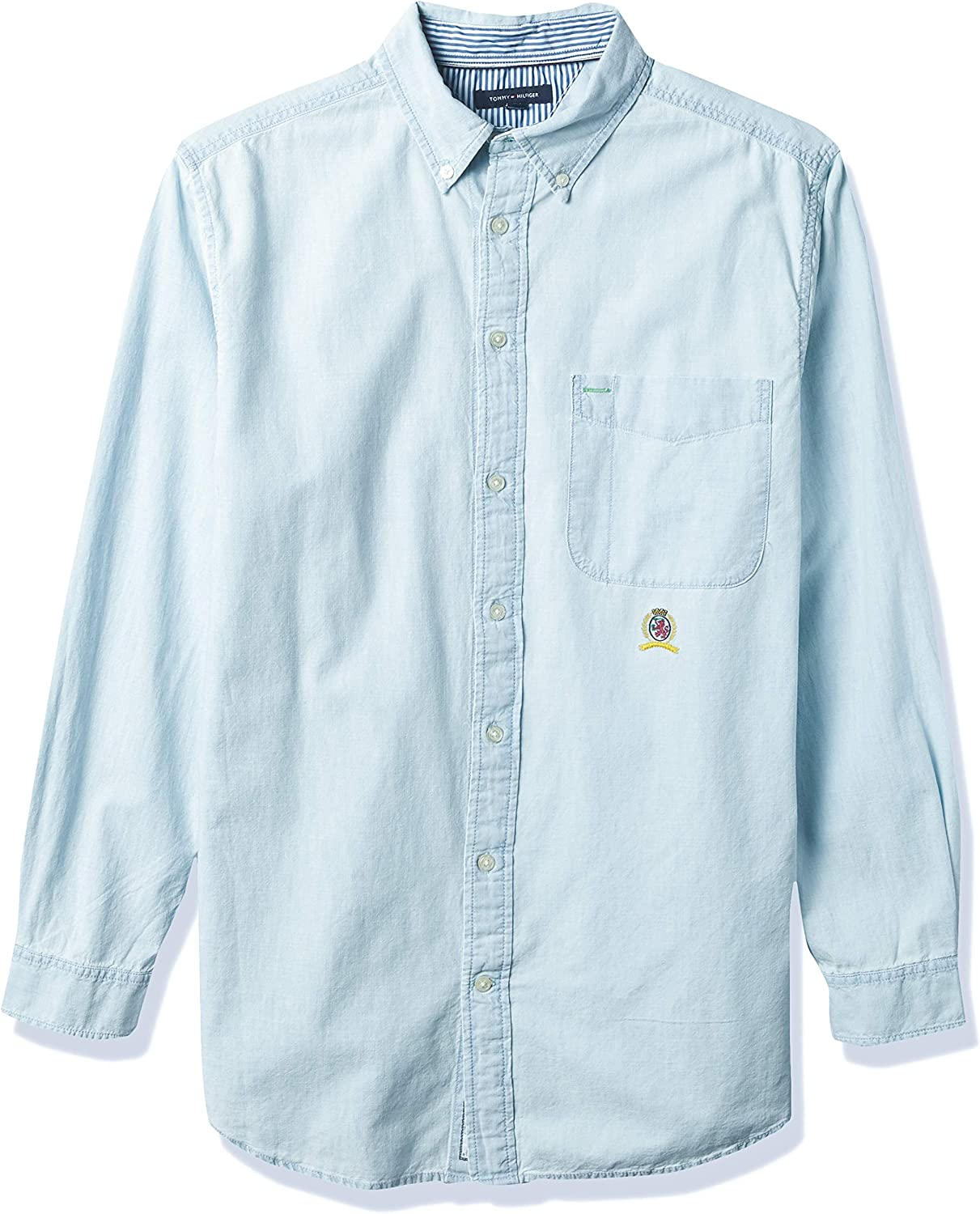 Tommy Hilfiger Big & Tall Men's Big and Tall Iconic Long Sleeve Button Down Shirt in Custom Fit