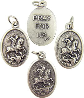 Religious Silver Toned Saint George Pendant, Lot of 4