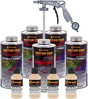 Custom Coat - Federal Standard Color# 33446 Desert Tan T80 - Camouflage Series Urethane Spray-On Truck Bed Liner & Texture Coating, 0.875 Gallons - with Applicator Spray Gun