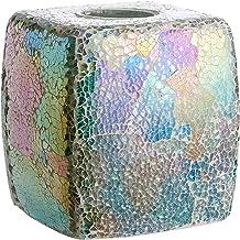 Whole Housewares Mosaic Glass Tissue Holder Decorative Tissue Cover Square Box Blue Gold
