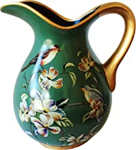 Ceramic Decorative Beautiful Vintage Green Curved Pitcher or Vase, Dark Green Body with Floral and Bird
