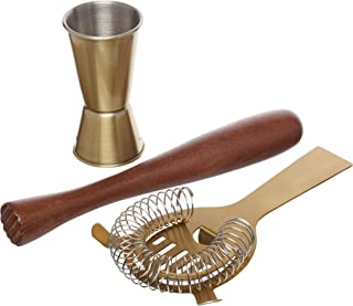 BarCraft Cocktail Tool Kit (3-Piece Gift Set) -Brass Finish, 9 x 9 x 17 cm