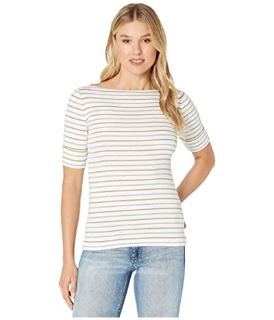 LAUREN Ralph Lauren Striped Cotton Boat Neck Top (Silk White/Light Sage/Pearl Grey Heather) Women