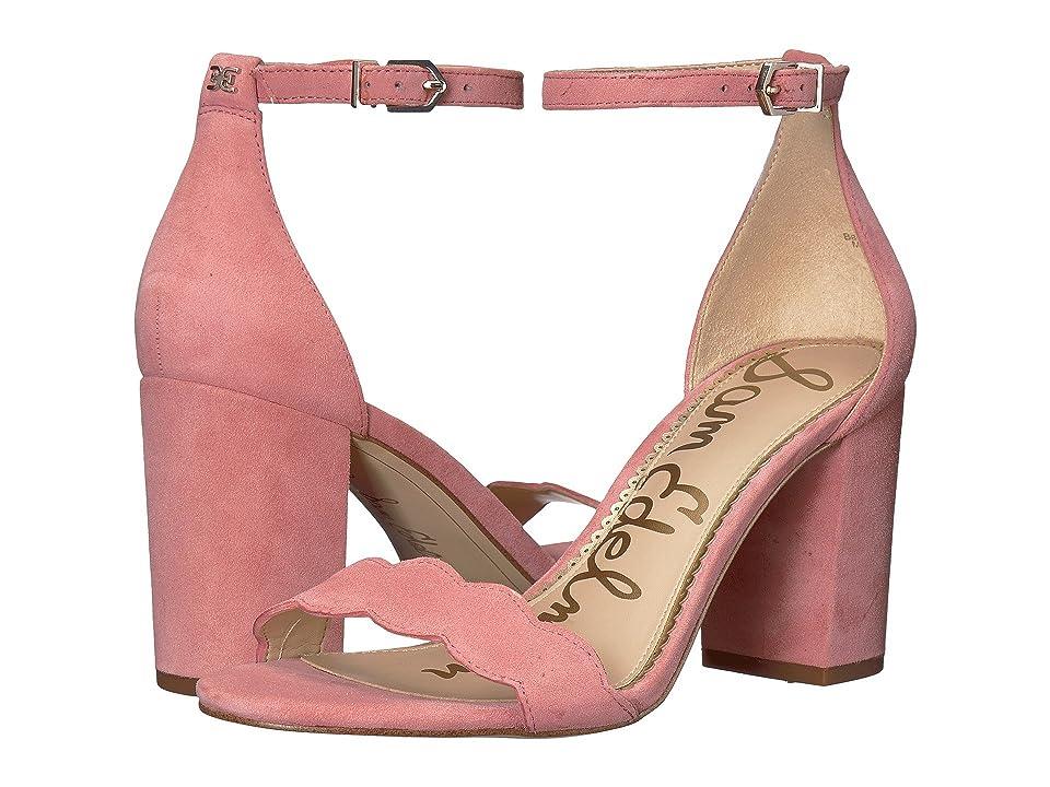 Sam Edelman Odila Ankle Strap Sandal Heel (Pink Lemonade Kid Suede Leather) Women