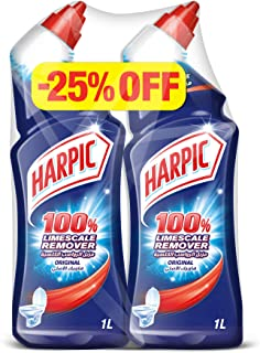 Harpic Toilet Cleaner Liquid Limescale Remover Original 1L Twin Pack