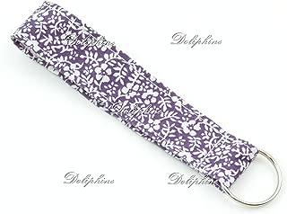 Sakura Print Wristlet Fabric Lanyard Key Fob Key Chain for ID Badge Holder / Key / purse (Purple)