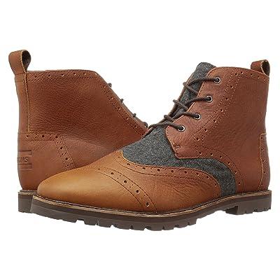 TOMS Brogue Boot (Brown Leather/Grey Wool) Men