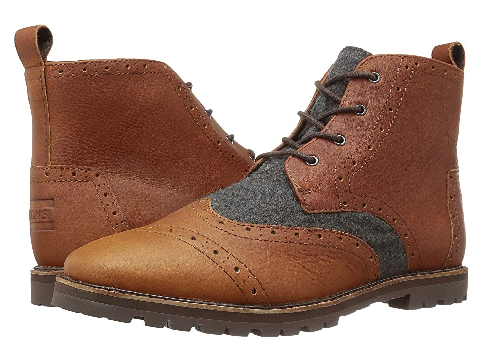 TOMS Brogue Boot (Brown Leather/Grey Wool) Men