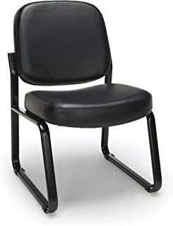 OFM Armless Reception Chair - Anti-Microbial/Anti-Bacterial Vinyl Guest Chair, Black (405-VAM)