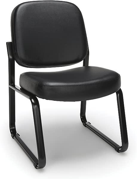 OFM 无扶手接待椅抗菌抗菌乙烯基客用椅黑色 405 VAM