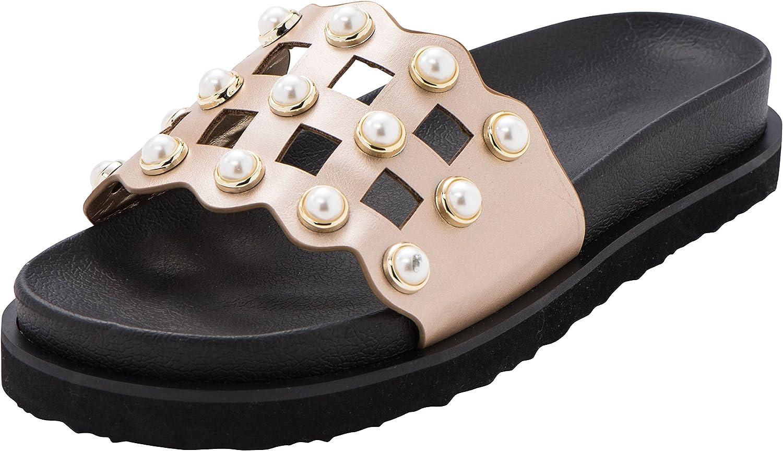 Cambridge Select Women's Open Toe Geometric Cutout Faux Pearl Flatform Flat Slip-On Slide Sandal