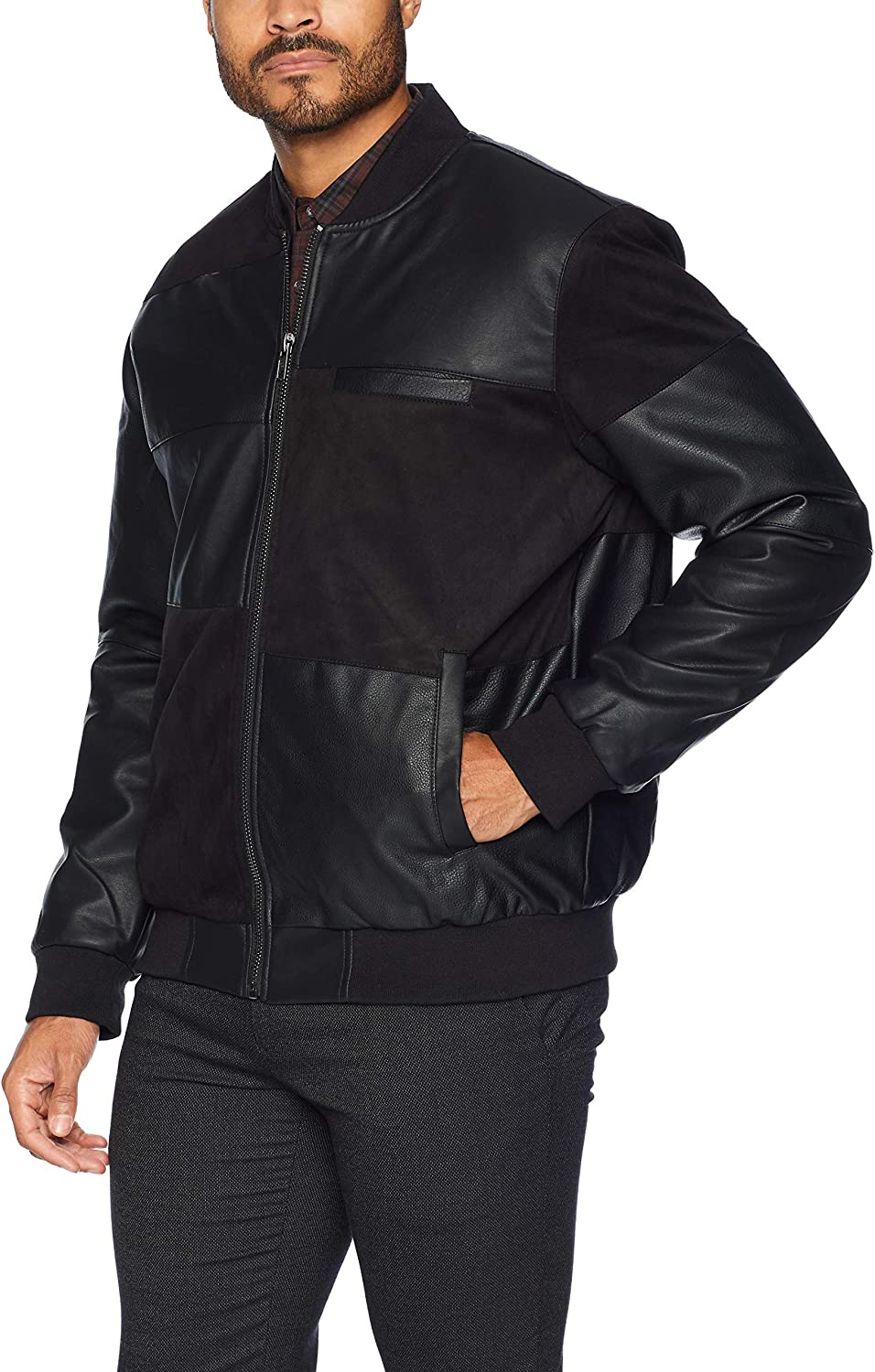 Members Only Men's Vegan Leather and Suede Bomber