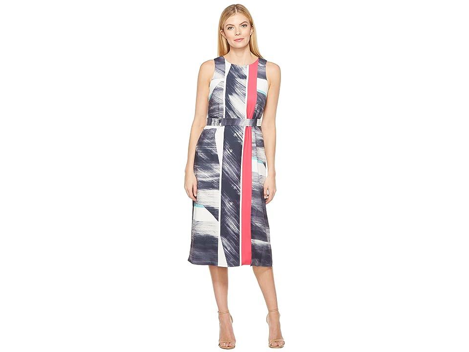 Ellen Tracy Belted Column Dress (Canvas Ink Combo) Women