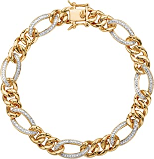 Palm Beach Jewelry Men's White Diamond Accent 18k Gold-Plated Pave-Style Curb-Link Bracelet 8.5""