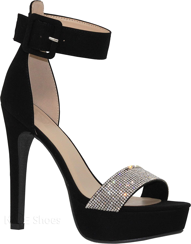 MVE shoes Women's Open Toe Buckle Ankle Strap Platform High Heel Sandal
