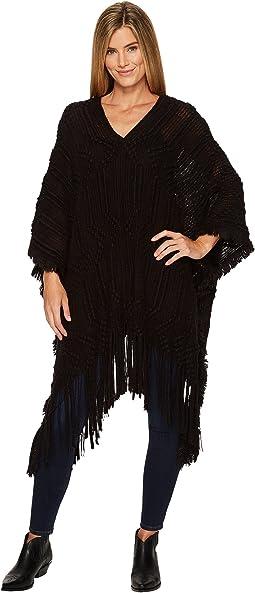 Wrangler - Textured Sweater Knit Poncho Fringe