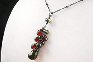 As Seen on The Vampire Diaries Elena's Necklace TVD Handmade Gemstone Cluster