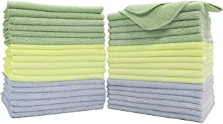 Polyte Premium Microfiber Cleaning Towel,16x16 in 36 Pack (Light Blue,Green,Yellow)