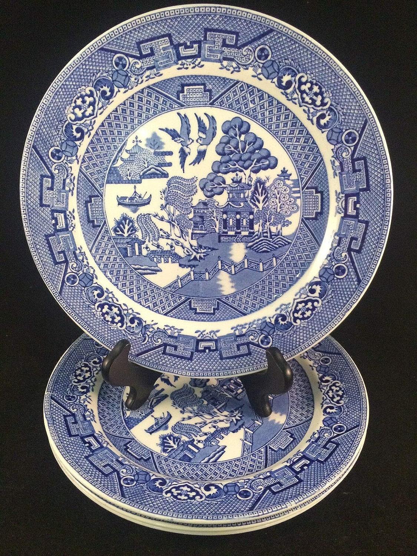 W Ridgway England Lot de 4 assiettes en porcelaine 23 cm