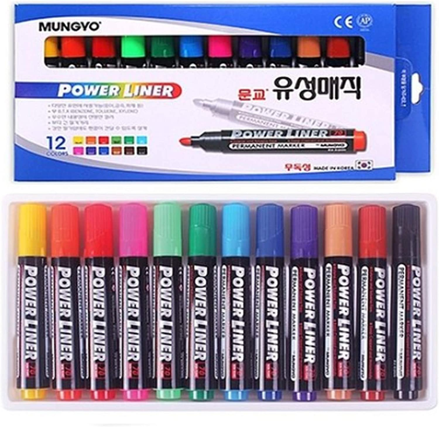 Mungyo Permanent half Marker Power Liner Ink Made Seattle Mall 12 Colors Non-toxic