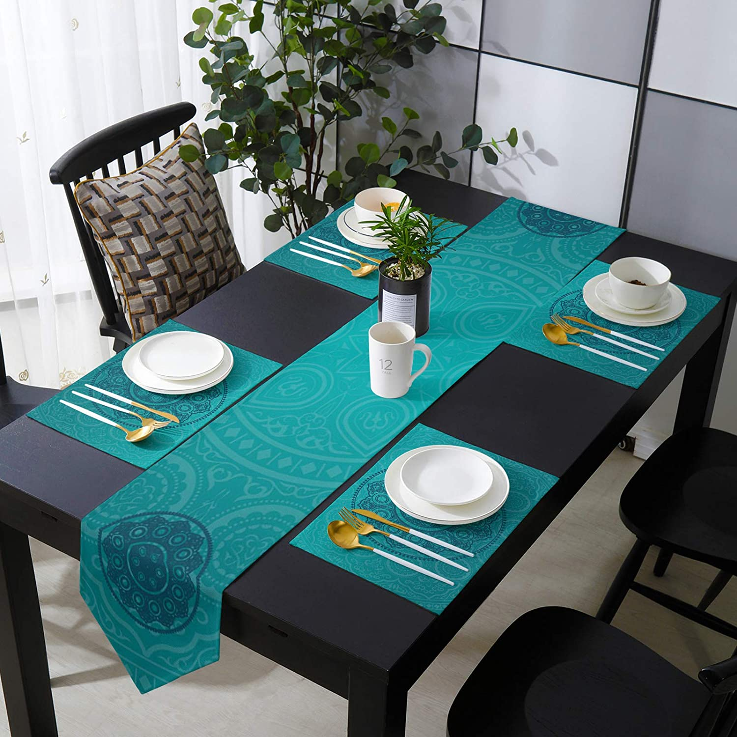 Placemats and Table Ranking TOP15 Runner Set for Mandal Aqua Blue Dining Max 79% OFF