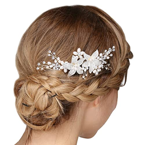 ce2ae12f1f1f3 Bridal Vintage Hair Comb Crystal Rhinestone Pearl Flower Slides Wedding Hair  Accessories for Women Girls