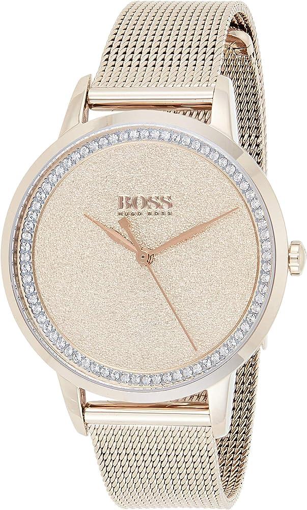Hugo boss, orologio per donna, in acciaio inossidabile color oro rosa 1502464