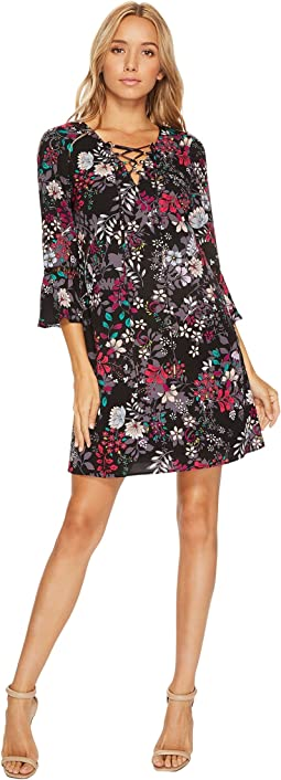 Printed Lace-Up Shift Dress