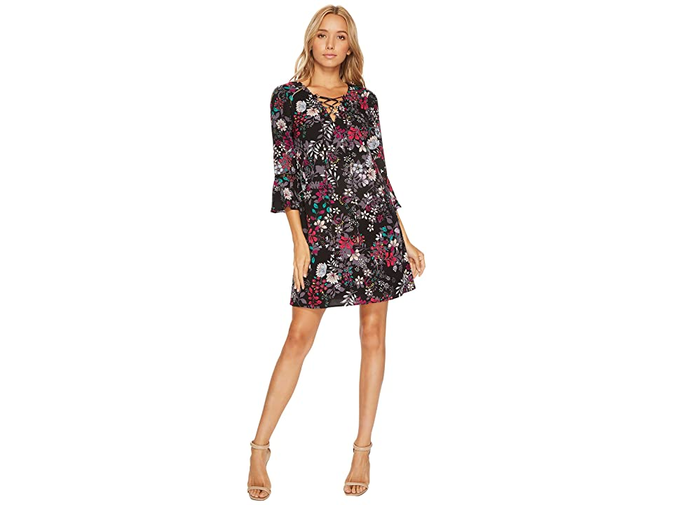 Jessica Simpson Printed Lace-Up Shift Dress (Black Multi) Women