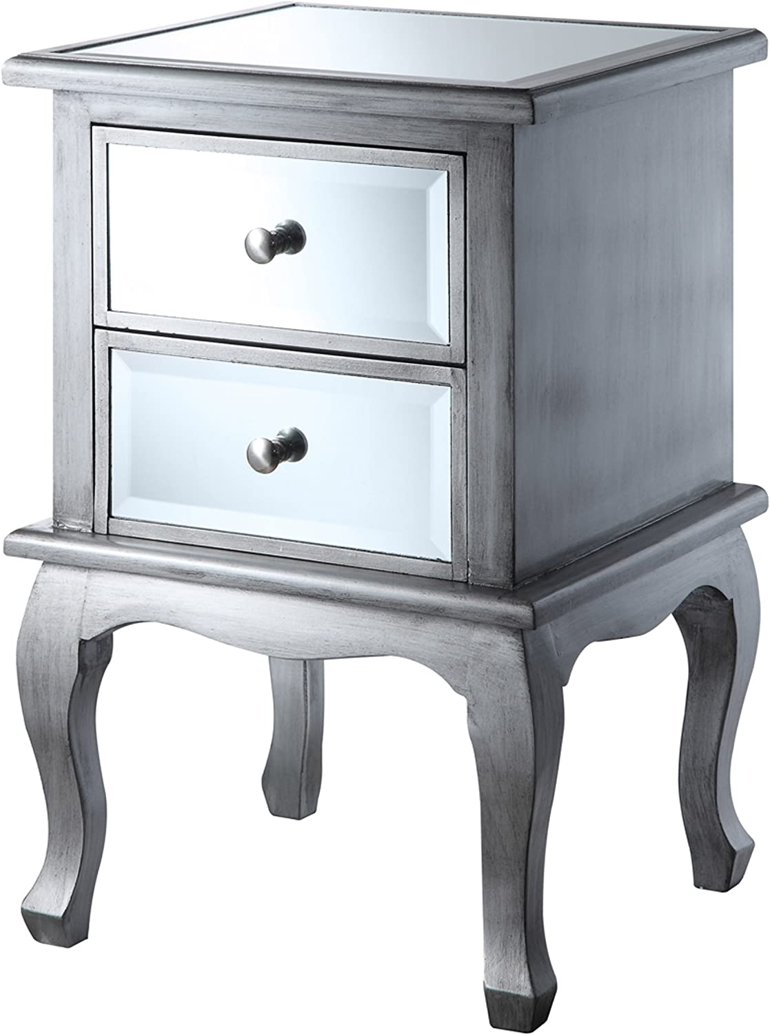 Convenience Concepts gold Coast Collection Queen Anne Mirrored End Table, Silver