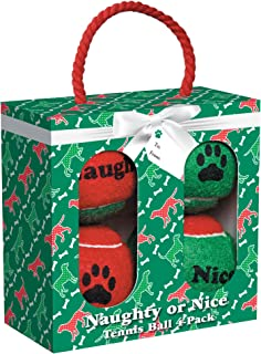 Grriggles Naughty or Nice Tennis Balls for Dogs (4 Pack)