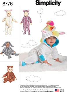 Simplicity 8776 Animal Onesie Baby Costume Sewing Pattern, 5 Styles, Sizes XS-L