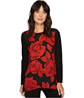 Vince Camuto Long Sleeve Wood Block Floral Mix Media Top