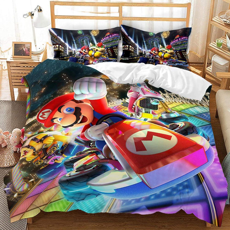 3D Cartoon Super Mario Bettbezug-Set A,140 x 210 cm Kinder Cartoon Super Mario Gedruckt 100/% Mikrofaser Bettw/äsche Set Kinder Jungen M/ädchen und Jugendliche