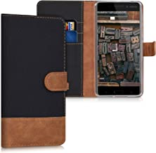 kwmobile Wallet Case for Nokia 6 (2017) - Fabric and PU Leather Flip Cover with Card Slots and Stand - Black/Brown