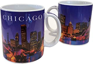 Chicago Purple Skyline Ceramic Mugs - Set of 2 -