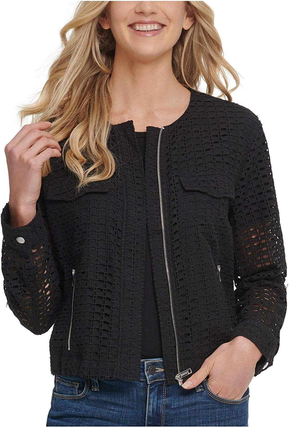 DKNY Womens Cold Weather Crochet Jacket