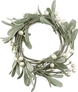 AuldHome Pearl and Berry Garland, Farmhouse Christmas Decor Wreath Accent or Candle Ring Wreath