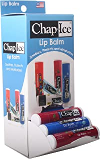 CHAP-ICE Assorted Lip Balm with Gravity Feed Display, Moisture SPF-15, Cherry SPF-4, 24 count