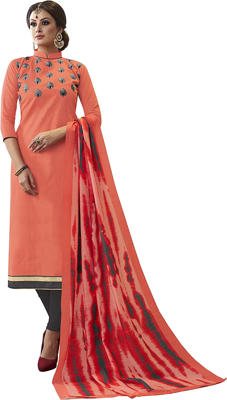 Rajnandini Women's Cotton Slub Embroidered Straight Fit Unstitched Dress Material(JOPLJN3005_Peach_Free Size)