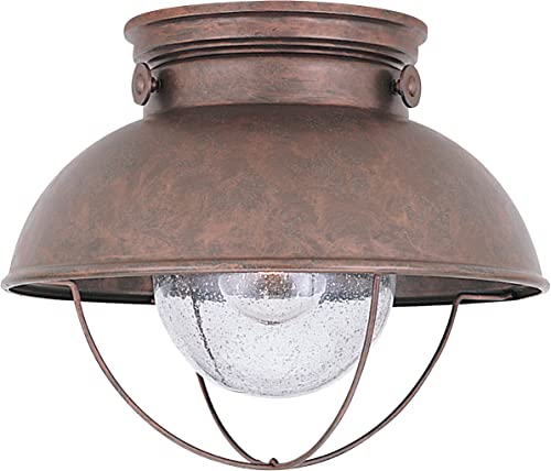 high quality Sea Gull Lighting 8869-44 Sebring One-Light Outdoor Flush Mount Ceiling Light online with Clear Seeded Glass outlet online sale Diffuser, Weathered Copper Finish sale