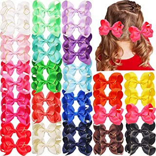 40PCS Baby Girls Pigtail Hair Bows 4.5 Inch Grosgrain Ribbon Hair Bows Alligator Hair Clips Hair Accessories for Girls Toddlers Kids Children in Pairs